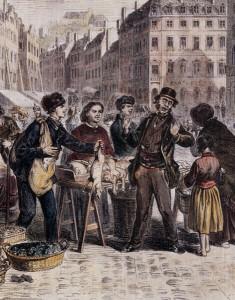 Le marché de la Place St-Louis à Metz (détail)  Bois anonyme dans un illustré hollandais de 1892. Coll. BM Metz