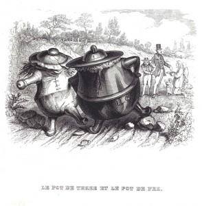 Les fables de La Fontaine par Grandville,Le pot de terre et le pot de fer – Coll. BM Metz