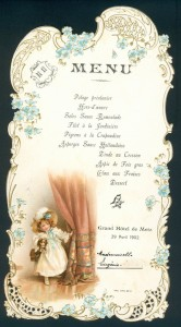 Menu de baptême, BMMetz, collection Yvonne Mutelet