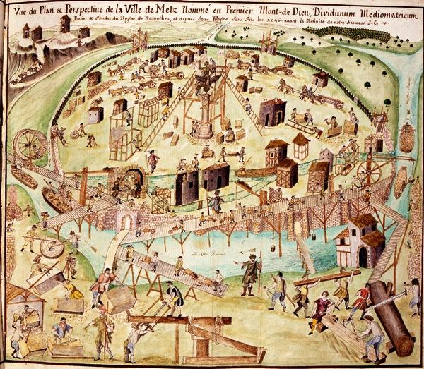 construction de Metz antique selon un dessin en couleur de Philippe de Vigneulles début XVIe (Bibliothèque d'Epinal- Cliché BM Metz)