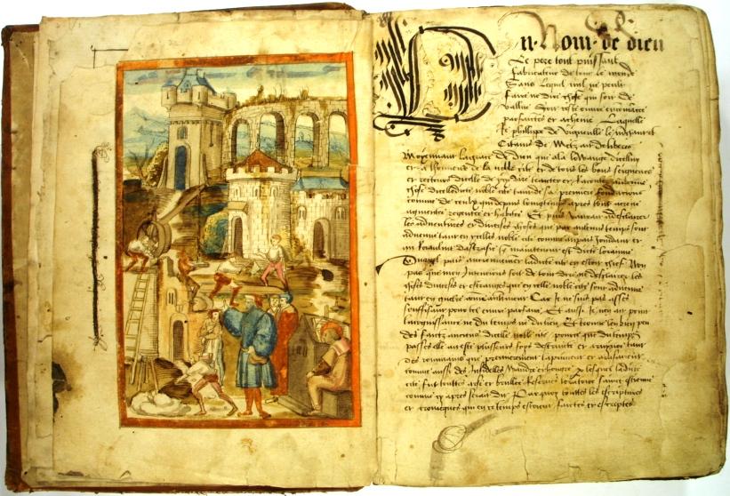 Philippe de Vigneulles rédigeant ses chroniques - Dessin à la plume et au lavis du début du XVIe siècle (photo BM Metz)
