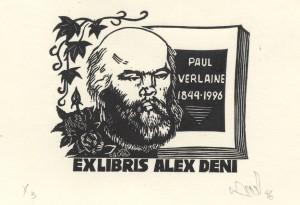 Verlaine, ex-libris d'Alex Deni. Coll. BM Metz