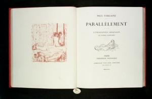 Paul Verlaine, Pierre Bonnard, Parallèlement, Ambroise Vollard, 1900. Ce premier livre moderne de peintre, illustré par des lithographies, fut également l'un des premiers documents acquis pour le fonds Verlaine créé par la BM de Metz, en 1966.