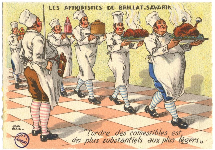 Les Aphorismes de Brillat-Savarin : l'ordre des comestibles est des plus substantiels aux plus légers [carte postale] par Jean Paris. (BM Metz, collection Yvonne Mutelet)