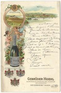 Menu passepartout de la maison rhéane Hoel, support publicitaire pour son vin pétillant Kaiserblume - coll.BM Metz