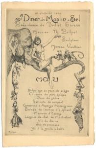 Menu du 40e dîner du Moulin à Sel - 31 janvier 1913 - coll.BM Metz