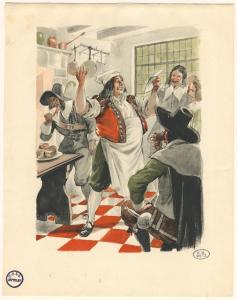 Cuisinier lisant un texte. (BM Metz, collection Yvonne Mutelet, Res GAS Est 032)