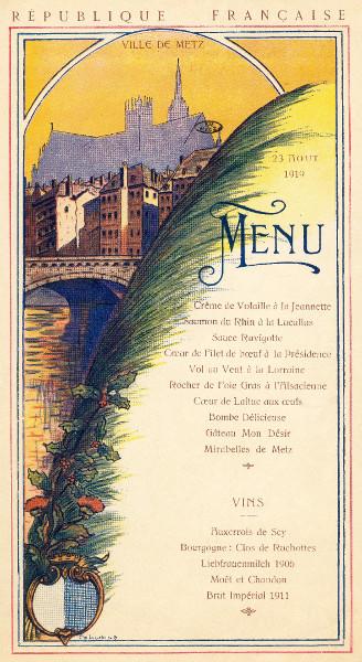 Menu officiel de la réception à Metz du président Poincaré - 1919 - coll.BM Metz