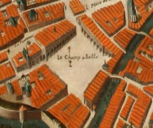 Le Champ à Seille, détail du Portrait de Metz, huile sur toile vers 1600. Musée de la Cour d'Or