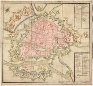 Plan de Metz avec ses noms de paroisses et couvents - coll.BM Metz