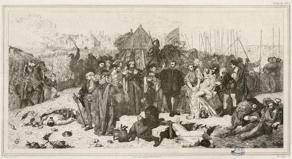 Ambroise Paré au siège de Damvillers, eau forte d'après le tableau de Louis Matout pour l'Académie de Médecine (1875)