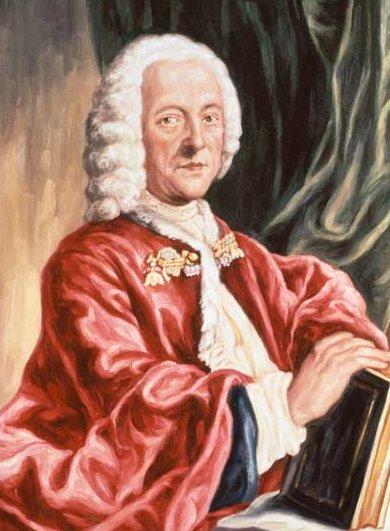 TELEMANN : aquatinte colorée de Valentin Daniel Preisler d'après une peinture disparue de Ludwig Michael Schneider (1750)