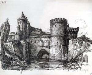 Porte des Allemands vue du sud-est  dessin de Jean Thiriot 1946 BM Metz