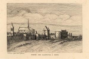 Porte des Allemands vue du sud-est  etat en 1667 A. Bellevoye d'apres Israel Silvestre BM Metz