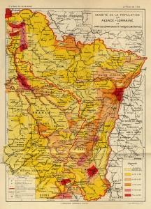Densité de la population en Alsace-Lorraine
