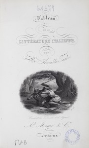 Tableau de la littérature italienne. Réserve de conservation des BMM. 850 TAS