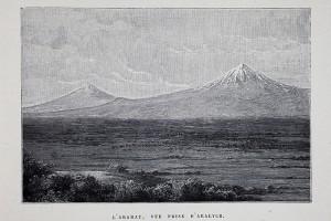 Le Mont Ararat, vue prise d'Aralych (village d'Arménie où vivait une population assyrienne)