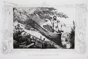 """""""Je le creusai sans le secours du feu"""", gravure d'après les dessins de M. DE SAINSON pour les Aventures de Robinson Crusoé"""