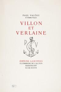 Villon et Verlaine. - VALERY, Paul Réserve Précieuse des BMM FPA RES VER IN-4 021